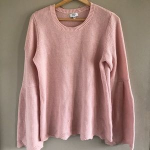 Crown and Ivy Pink Bell Sleeve Sweater